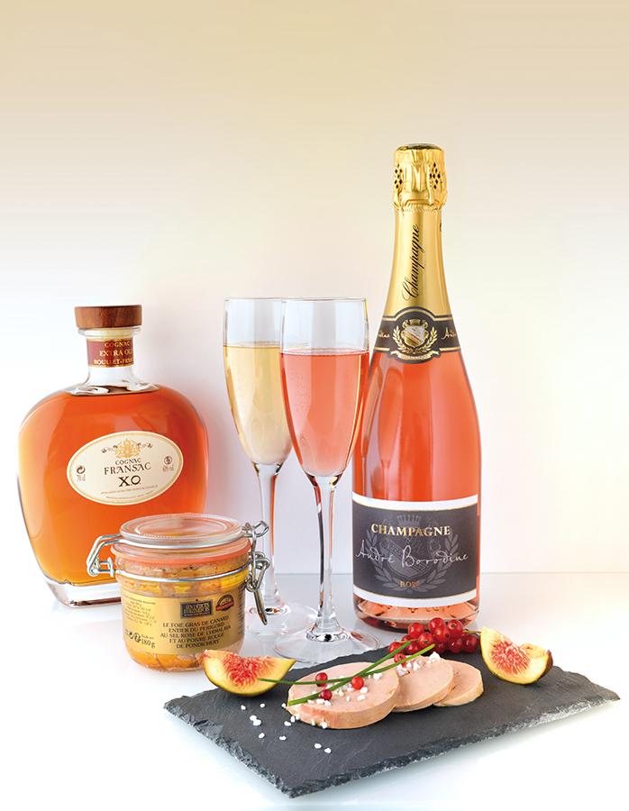Photo de champagne et foie gras
